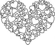 coeur avec des petits coeurs dessin à colorier