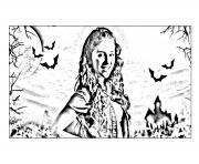 chica vampiro daisy devant son chateau dessin à colorier