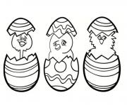 3 poussins paques facile dessin à colorier