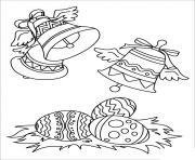 cloches de paques avec oeuf dessin à colorier