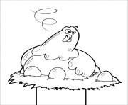 poule de paques poule en chocolat dans son nid dessin à colorier