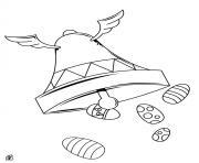la cloche et oeufs de paques dessin à colorier