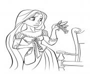 princesse raiponce est inquiete dessin à colorier