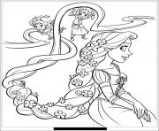 raiponce et sa belle coiffure dessin à colorier