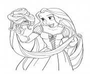 raiponce princesse disney avec pascal dessin à colorier