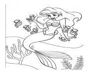 Coloriage moment romantique pour la petite sirene avec son amoureux dessin