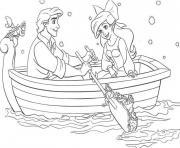 ariel la petite sirene en barque avec son prince dessin à colorier
