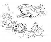 les amis de ariel la petite sirene dessin à colorier