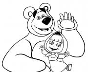 masha et michka bonjour a tous dessin à colorier
