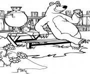masha et michka ours deguste un cafe dessin à colorier