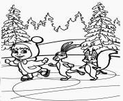 masha et michka patinage avec ses amis dessin à colorier