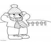 Coloriage Petit Ours Brun retire son manteau dhiver dessin