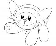 Nounourson pokemon soleil lune dessin à colorier