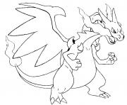 Coloriage pokemon mega evolution X Dracaufeu 6