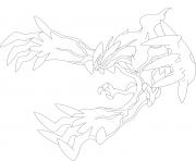 Coloriage Yveltal pokemon legendaire