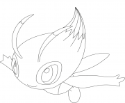 Coloriage Celebi pokemon legendaire