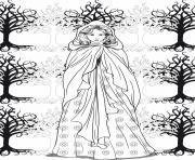 adulte femme arbres zen anti stress dessin à colorier