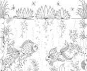Coloriage ocean poissons adulte zen anti stress