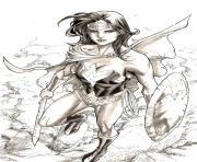 Coloriage wonder woman fille avec son bouclier