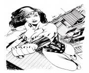 Coloriage super wonder woman art adulte dc comics dessin