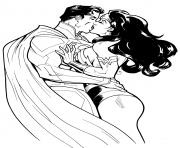 Coloriage wonder woman amoureuse de super man