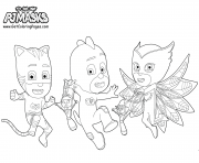 Coloriage Gluglu Yoyo Bibou Pyjamasques Party