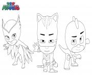 Coloriage Pyjamasques Pj Masks Superheros Gluglu Bibou Yoyo