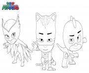 Pyjamasques Pj Masks Superheros Gluglu Bibou Yoyo dessin à colorier