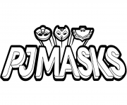 Pyjamasques Logo Black and White Clipart dessin à colorier