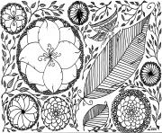 printemps fleurs papillon roses adulte zen dessin à colorier