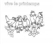 vive le printemps maternelle oiseaux dessin à colorier