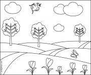 paysage printemps dessin à colorier