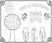 vive le printemps maternelle facile dessin à colorier