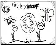Coloriage vive le printemps maternelle simple