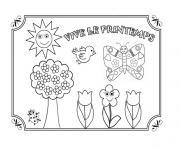 vive le printemps maternelle dessin à colorier