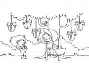 enfants oeufs de paques dessin à colorier