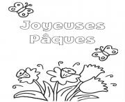 joyeuses paques avec des fleurs dessin à colorier