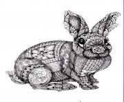 Coloriage adulte difficile lapin