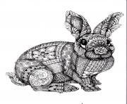 adulte difficile lapin dessin à colorier