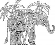 adulte animaux elephant difficile dessin à colorier