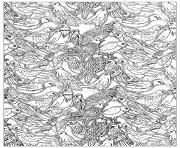 nombreux oiseaux dessin à colorier