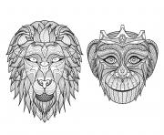 Coloriage adulte tetes singe lion