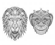 adulte tetes singe lion dessin à colorier