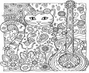 Coloriage adulte animaux chat guitare