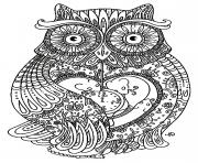 Coloriage adulte animaux gros hibou
