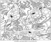 adulte animaux testes girafes dessin à colorier