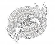 adulte mandala deux hirondelles et un ruban par kchung dessin à colorier