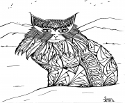 adulte leen margot le chat des montagnes dessin à colorier