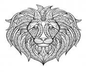 Coloriage adulte tete lion