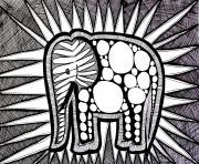 difficile elephant dessin à colorier